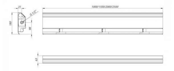 Плинтусный конвектор Carrere BR-18 чертеж