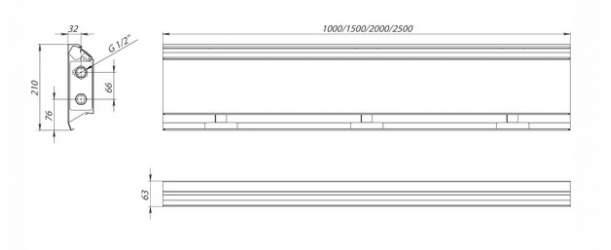 Плинтусный конвектор Carrere BR-21 чертеж