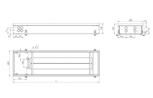 Внутрипольный конвектор Carrera 4S2 Black 120